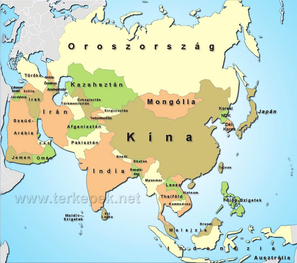 ázsia térkép Ázsia politikai térképe Ázsia országaival ázsia térkép