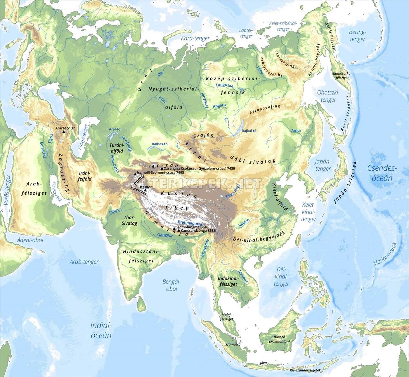 ázsia térkép Ázsia domborzati térképe ázsia térkép